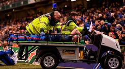Dan Leavy leaves the pitch after picking up an injury. Photo: Stephen McCarthy/Sportsfile