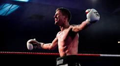 Eric Donovan celebrates after winning his vacant Irish Featherweight title bout against Stephen McAfee at the National Stadium in Dublin. Photo: Seb Daly/Sportsfile
