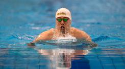 Jordan Sloan of NCD Bangor, Co. Down, during the Men 13 & Over 100 LC Meter Freestyle event during the Irish Long Course Swimming Championships at the National Aquatic Centre in Abbotstown, Dublin. Photo: Harry Murphy/Sportsfile