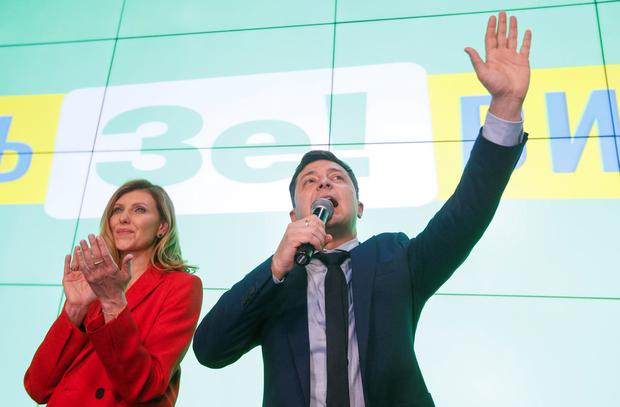 Ukrainian presidential candidate Volodymyr Zelenskiy welcomes the exit poll results last night. Photo: Reuters/Valentyn Ogirenko