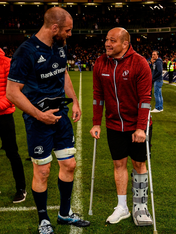 Scott Fardy of Leinster in conversation with Rory Best after match