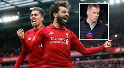Mo Salah celebrates against Tottenham and (inset) Jamie Carragher