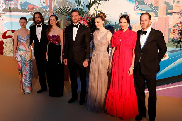 Princess Alexandra of Hanover, Dimitri Rassam, Charlotte Casiraghi, Pierre Casiraghi, Beatrice Borromeo, Tatiana Santo Domingo and Andrea Casiraghi arrive for the Bal de la Rose in Monaco, March 30, 2019. Sebastien Nogier/Pool via REUTERS