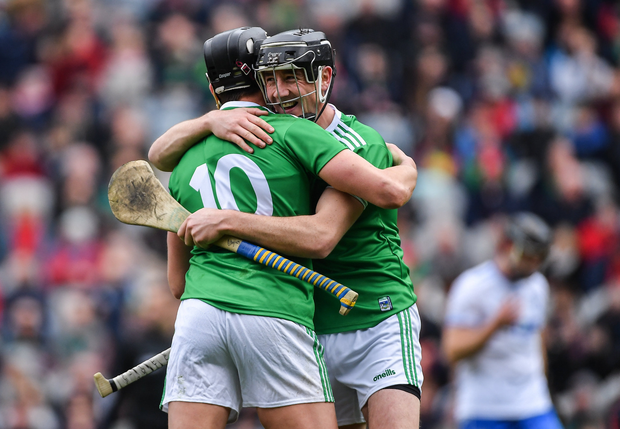Limerick players Diarmaid Byrnes, right, and Gearóid Hegarty celebrate after the Allianz Hurling League Division 1 Final match between Limerick and Waterford at Croke Park in Dublin. Photo by Piaras Ó Mídheach/Sportsfile