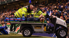 Dan Leavy of Leinster leaves the pitch after picking up an injury during the Heineken Champions Cup Quarter-Final between Leinster and Ulster at the Aviva Stadium in Dublin. Photo by Stephen McCarthy/Sportsfile