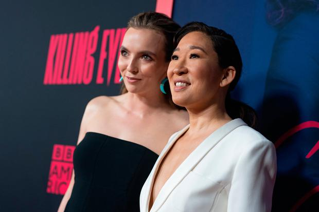 Jodie Comer and Sandra Oh attend the premiere of BBC America and AMC's 'Killing Eve' at ArcLight Hollywood on April 01, 2019 in Hollywood, California. (Photo by Emma McIntyre/Getty Images)