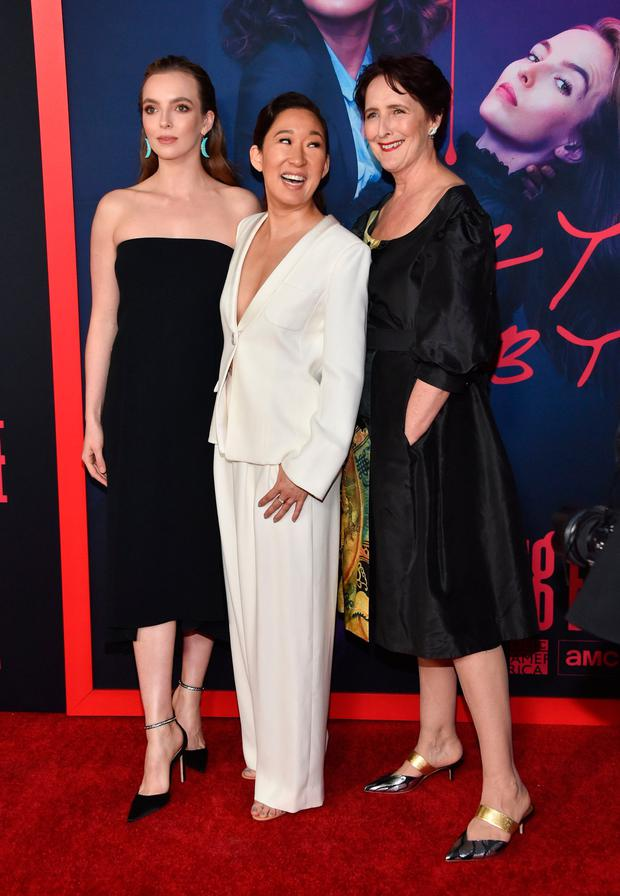 (L-R) British actress Jodie Comer, Canadian actress Sandra Oh and Irish actress Fiona Shaw arrive for BBC America and AMC's