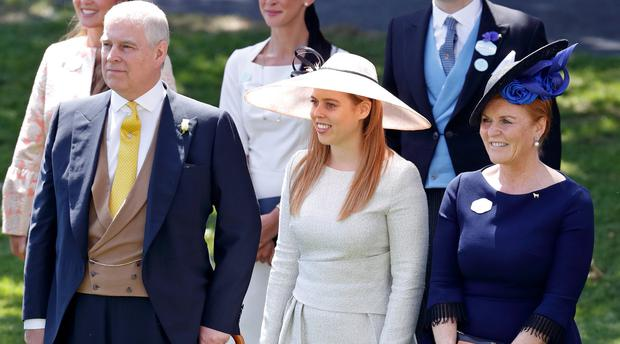 Prince Andrew, Duke of York, Princess Beatrice and Sarah, Duchess of York attend day 4 of Royal Ascot at Ascot Racecourse on June 22, 2018 in Ascot, England. (Photo by Max Mumby/Indigo/Getty Images)