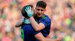 Mayo players, Aidan O'Shea, left, and Ciarán Treacy celebrate after the Allianz Football League Division 1 Final match between Kerry and Mayo at Croke Park in Dublin. Photo by Piaras Ó Mídheach/Sportsfile