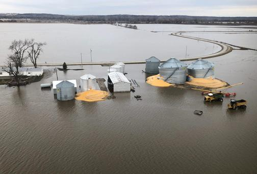 The contents of grain silos which burst from flood damage are shown in Fremont County Iowa, U.S., March 29, 2019. Photo taken March 29, 2019. REUTERS/Tom Polansek
