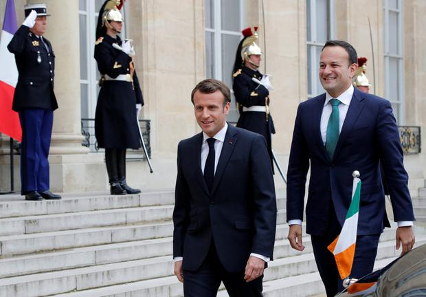 French President Emmanuel Macron welcomes Taoiseach Leo Varadkar at the Elysee Palace in Paris, France, April 2, 2019. REUTERS/Philippe Wojazer