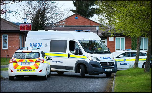 Gardai search Riversdale Community College in Blanchardstown following the shooting. Pic Steve Humphreys