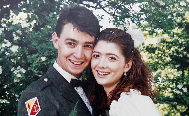 Happy couple: Sergeant Pat Cassidy and Yvonne on their wedding day at Dublin's McKee Barracks