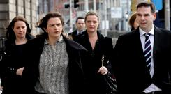 Agreement: The Quinn children, from left, Aoife, Brenda, Ciara, Colette (partially hidden) and Seán Jr. Photo: Collins Courts