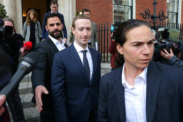 The face of Facebook: Mark Zuckerberg leaves the Merrion Hotel in Dublin yesterday. Photo: Damien Eagers/INM