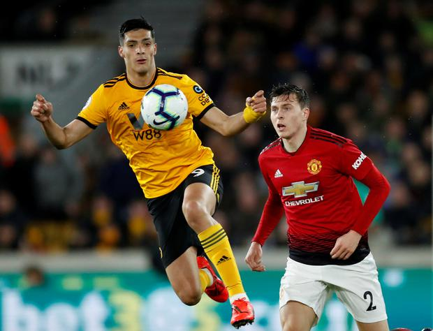 Wolves' Raul Jimenez and Manchester United's Victor Lindelof. Photo: Reuters