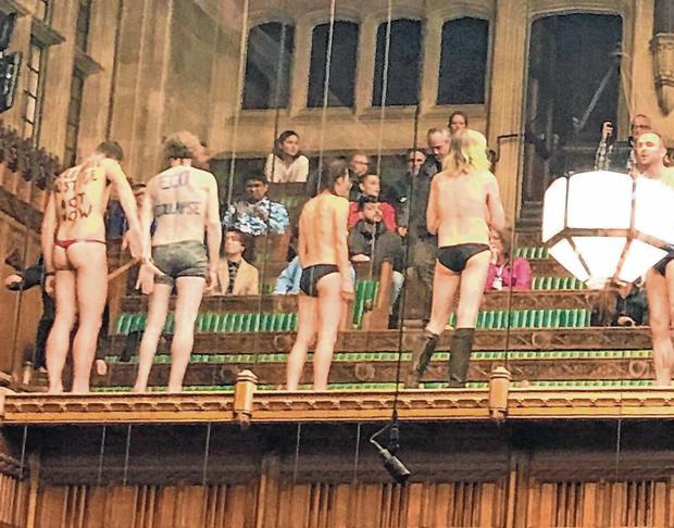 Dramatic scenes: The Extinction Rebellion group protest in the public gallery of the House of Commons in this photo taken from the twitter feed of James Heappey MP. Photo: James Heappey/PA Wire
