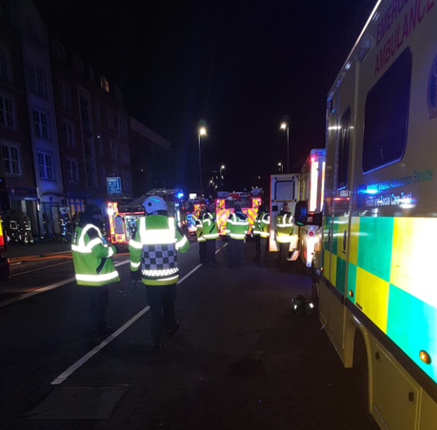 Eight fire appliances and 55 firefighters attended the incident. Photo: Northern Ireland Ambulance Service