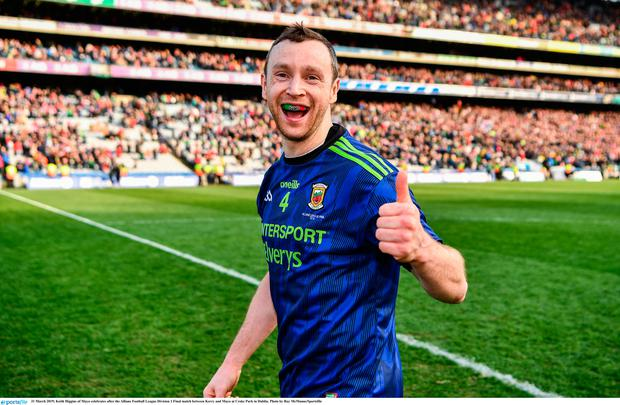 Keith Higgins of Mayo celebrates after the Allianz Football League Division 1 Final match between Kerry and Mayo at Croke Park in Dublin. Photo by Ray McManus/Sportsfile