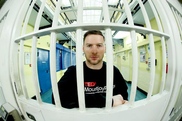 Philly McMahon, Dublin GAA Footballer at TEDxMountjoyPrison, the first TEDx event in an Irish prison. Photo: Maxwell Photography