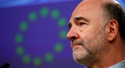 European Commissioner for Economic and Financial Affairs Pierre Moscovici holds a news conference in Brussels, Belgium April 3, 2019. REUTERS/Francois Lenoir