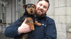 Ted Maher with Hamish at Dublin's Heuston Station (David Young/PA)
