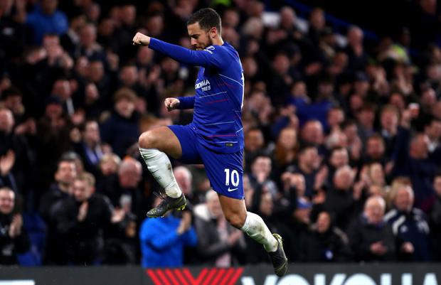 Eden Hazard of Chelsea FC celebrates scoring his team's second goal during the Premier League match between Chelsea FC and Brighton and Hove Albion at Stamford Bridge on (Photo by Chloe Knott - Danehouse/Getty Images)