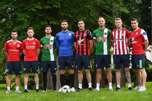 The eight members of Ireland's Euro 2016 squad who started their careers in the League of Ireland. L-R Wes Hoolahan, Stephen Quinn, Shane Long, Daryl Murphy, Stephen Ward, David Meyler, James McClean and Seamus Coleman
