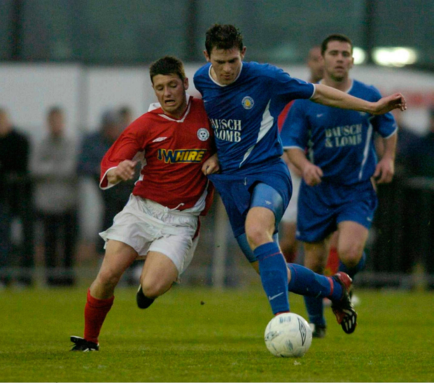 Wes Hoolahan (Shels) and Daryl Murphy (Waterford) in action during a 2004 League of Ireland clash, 12 years later they were in the Euro 2016 squad. Photo: Sportsfile