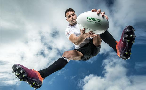 'It's all about the European Cup in Munster,' says Conor Murray who was speaking at yesterday's annoucement that Pinergy will now be supplying all of its customers with electricity from 100 pc renewable energy sources. Photo: INPHO