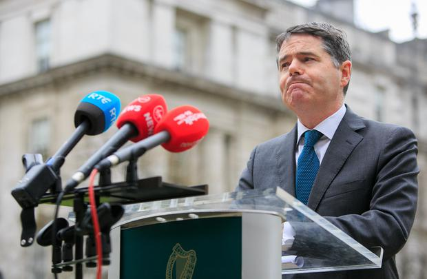 Minister for Finance Paschal Donohoe TD speaking to media on the report of the review of the Local Property Tax at Government Buildings, Dublin. Photo: Gareth Chaney, Collins