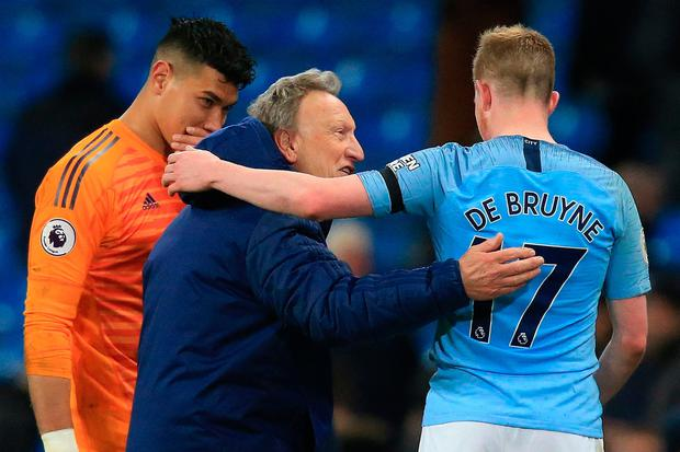 Cardiff City manager Neil Warnock congratulates Manchester City midfielder Kevin De Bruyne after the match. Photo: Getty