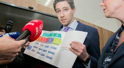 Pressure: Health Minister Simon Harris at Dublin Dental University Hospital yesterday to launch the 'Smile agus Sláinte' dental health policy. Photo: Gareth Chaney, Collins