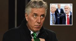 Embattled John Delaney and (inset) John Treacy and Kieran Mulvey arrive at Oireachtas hearing