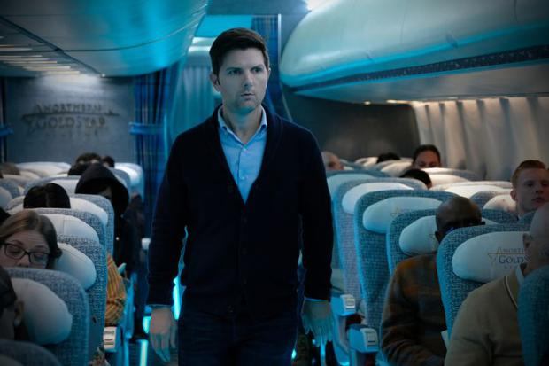 Adam Scott as Justin Sanderson in 'Nightmare at 30,000 Feet' whic pays weak homage to one of the most famous episodes from the original series of The Twilight Zone