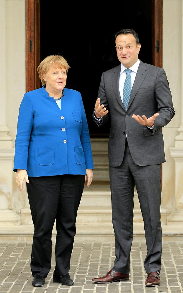 Taoiseach Leo Varadkar and German chancellor Angela Merkel pictured as she arrived in Farmeleigh for Brexit talks with the Taoiseach. Picture; Gerry Mooney