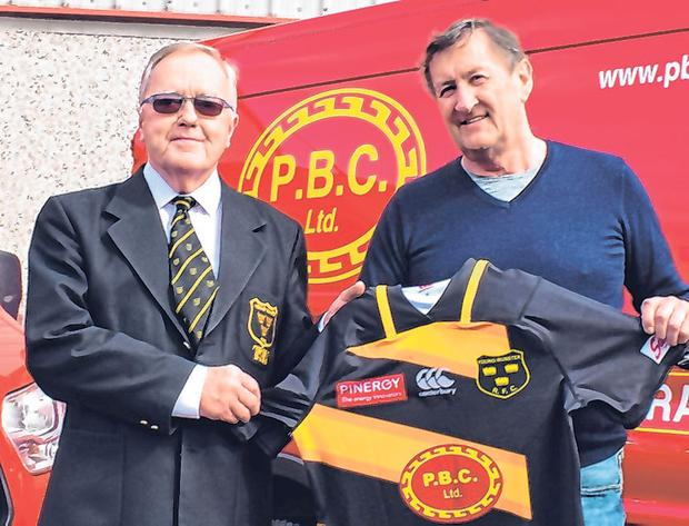Nay Cantillon being presented with club jerseys by sponsor Pat Burke of PBC Builders