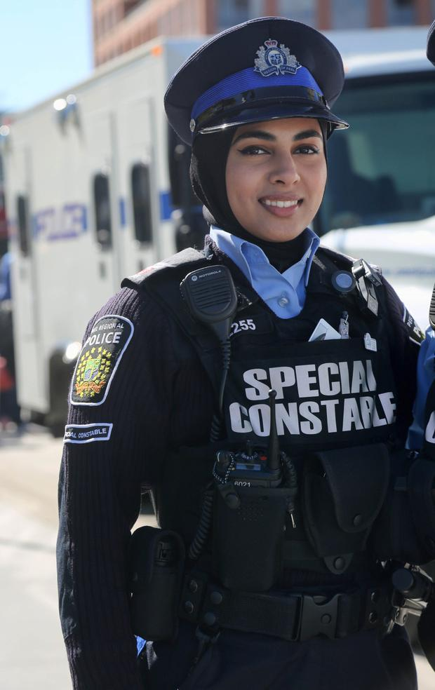 Progress: A police officer in a hijab in the city of Mississauga, Ontario, Canada. Photo: Getty