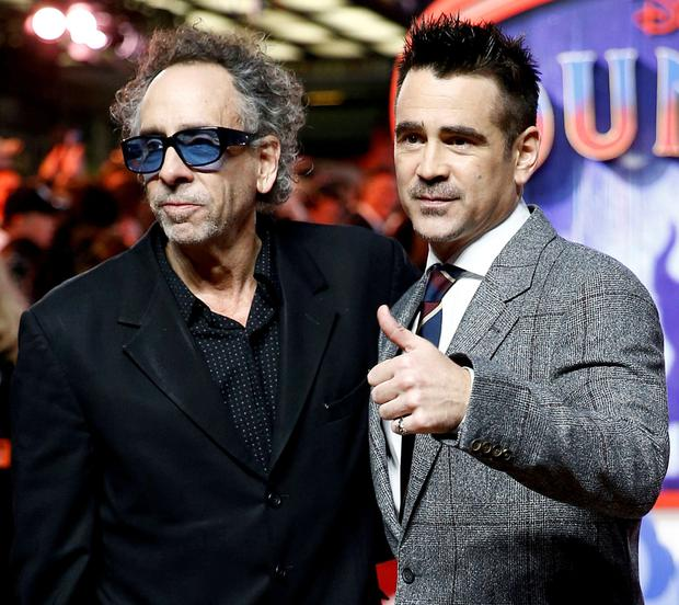 Dumbo star Colin Farrell with the movie's director, Tim Burton. Photo: Henry Nicholls