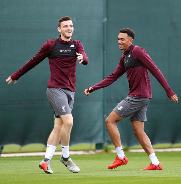 Andy Robertson of Liverpool (L) and Trent Alexander-Arnold