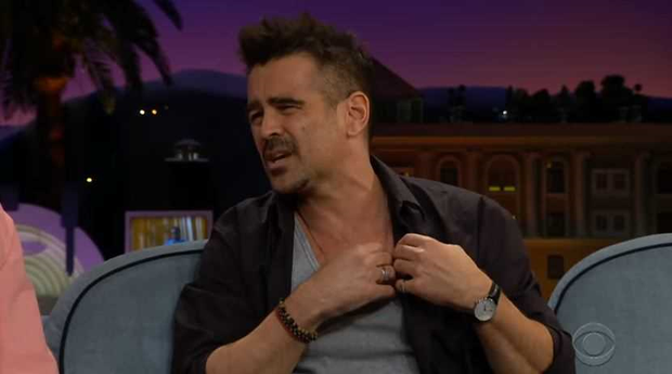 Colin Farrell describes his tattoo on the Late Late Show with James Corden