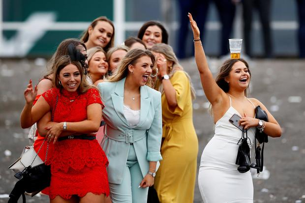 Horse Racing - Grand National Festival - Aintree Racecourse, Liverpool, Britain - April 5, 2019 Racegoers on ladies day during the Grand National Festival Action Images via Reuters/Jason Cairnduff