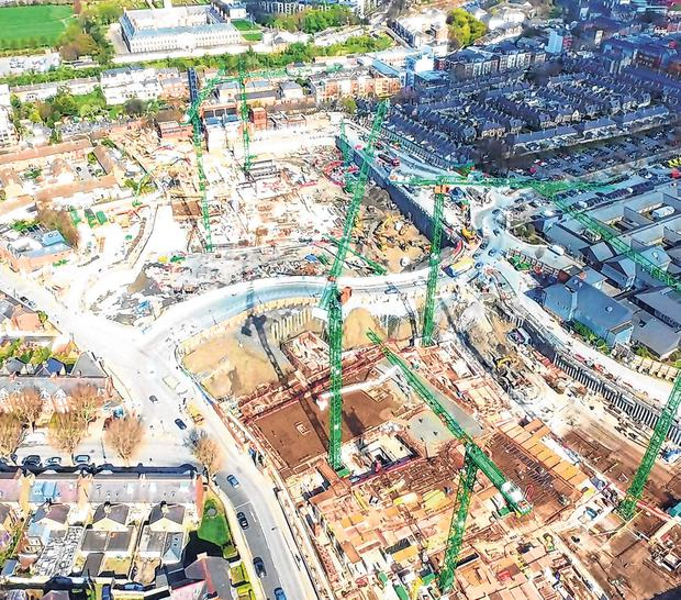 Work carries on: Aerial shots show work is progressing at the site of the new children's hospital