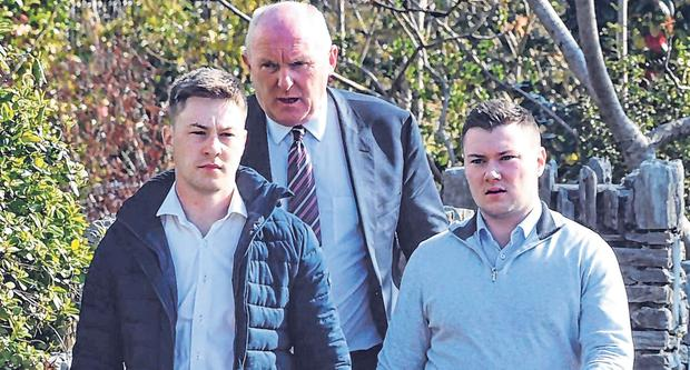In court: Jackie Healy-Rae Jnr (right) and his brother Kevin arrive with solicitor Padraig O'Connell. Photo: Don MacMonagle