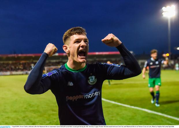 Trevor Clarke celebrates after his Shamrock Rovers team-mate Aaron McEneff scored their second goal during the SSE Airtricity League Premier Division match between Cork City and Shamrock Rovers at Turners Cross in Cork. Photo by Stephen McCarthy/Sportsfile