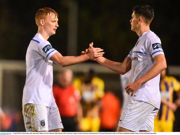 Liam Scales, left, and Josh Collins of UCD celebrate following the SSE Airtricity League Premier Division match between UCD and Waterford at The UCD Bowl in Belfield, Dublin. Photo by Ben McShane/Sportsfile
