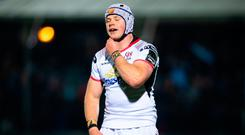 Luke Marshall of Ulster dejected following the Guinness PRO14 Round 19 match between Glasgow Warriors and Ulster at Scotstoun Stadium in Glasgow, Scotland. Photo by Ross Parker/Sportsfile