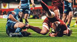 Stander delivers: CJ Stander goes over to score Munster's third try during their victory over Cardiff at Irish Independent Park. Photo: Diarmuid Greene/Sportsfile