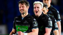 Jonathan Hogg, right, and Pete Horn of Glasgow Warriors. Photo: Ross Parker/Sportsfile