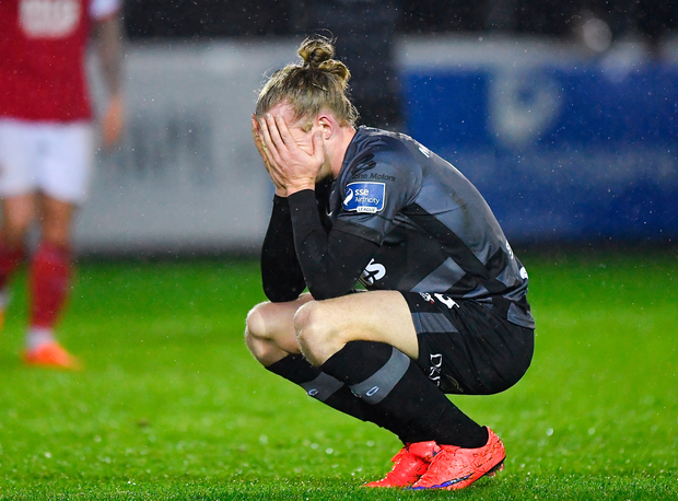 Dundalk's John Mountney can't hide his dejection. Photo: Sportsfile